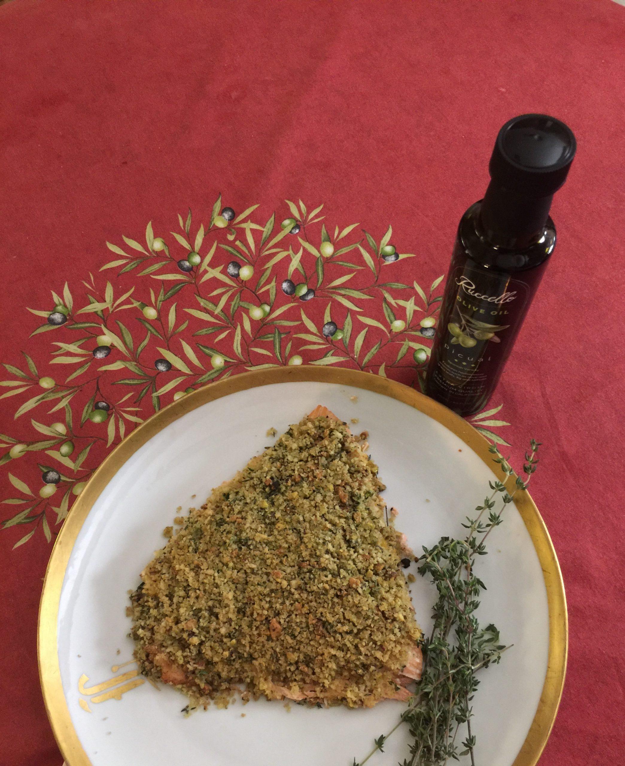 Salmon with Orange Pistachio Crust